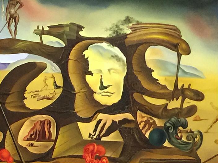 《拿破崙的鼻子,搖身一變成為一名孕婦, 帶著她的憂鬱的影子,在已毁壞的遺址中散步》,1945年作品。