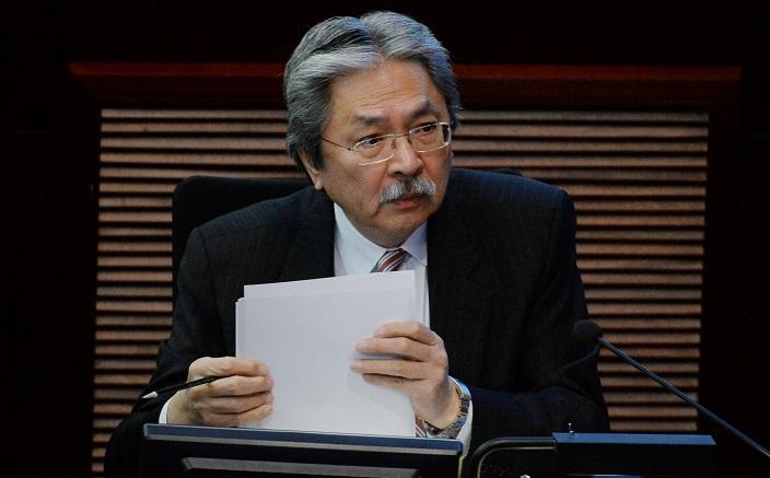 去年12月12日辭職的財政司司長曾俊華,中央至今仍未批准其請辭(資料圖片)