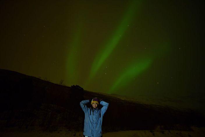 周秀娜終於如願以償,睇到北極光。