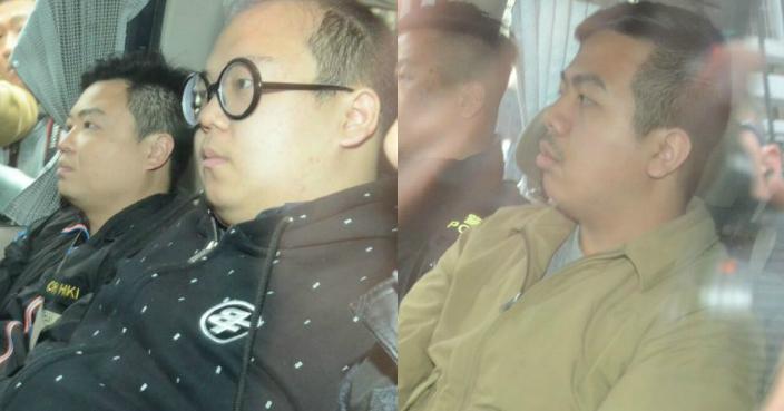 林淳軒(左)及林朗彥(右)被押往警察總部。