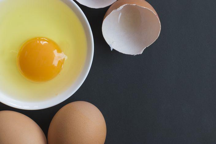 Prepared egg in white bowl