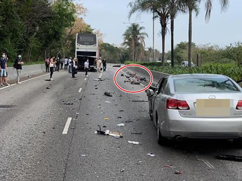 天水圍4車連環撞 鐵騎士撞飛數米外倒地受傷
