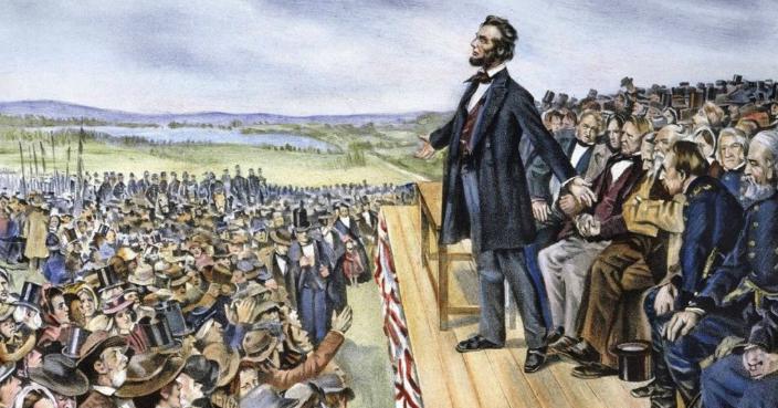 美國總統林肯1863年在蓋茲堡演說(網上圖片)