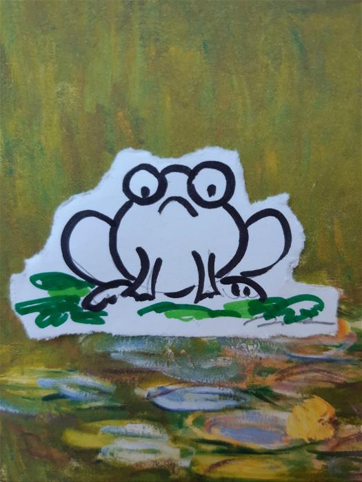 图:女儿岑真的肚,曾因食错嘢胀到似她画的青蛙