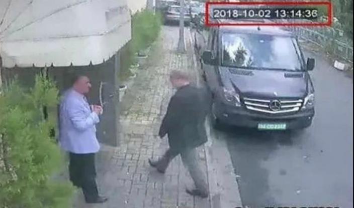 图:监控录像显示,卡舒吉进入沙特驻当地领事馆后就没有出来。