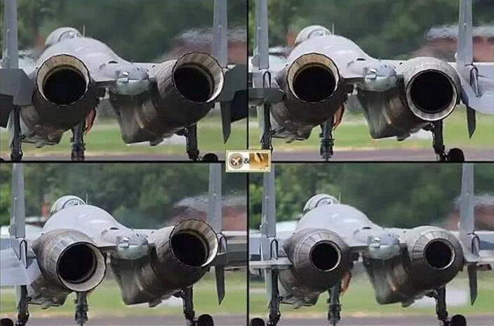苏35发动机的推力矢量运动模式,同步动作和差动。(网上图片)