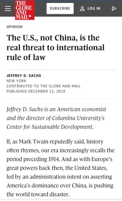 《環球郵報》刊登哥倫比亞大學可持續發展中心主任薩克斯的文章,題為「是美國而非中國是對國際法治的真正威脅」。