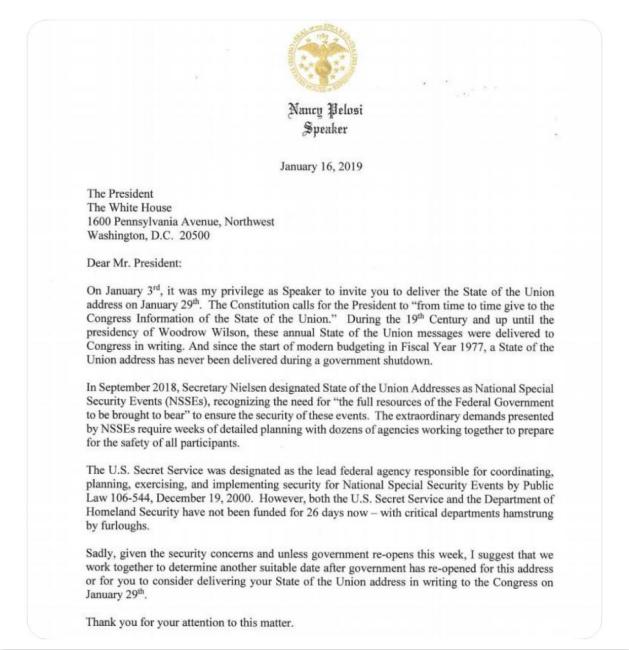 佩洛西出信玩特朗普。