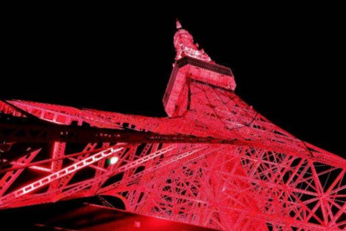 東京塔披上中國紅。