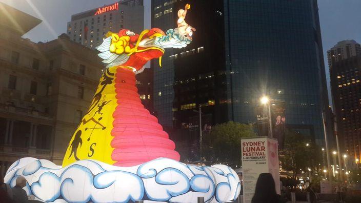 悉尼豬年燈飾,右方見到「悉尼農曆節」的字樣。