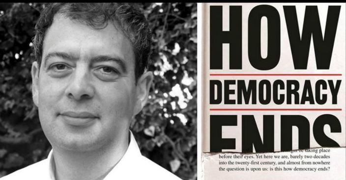 劍橋大學政治系主任朗西曼和他的新書《民主如何終結》。