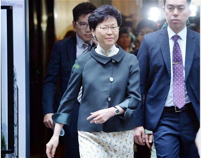 特首林鄭月娥昨日中午出席活動後主動會見傳媒。資料圖片