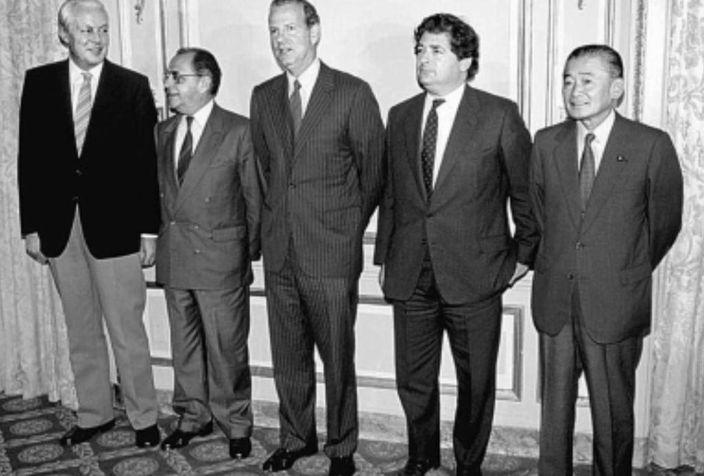 五國在1985年在美國紐約廣場飯店簽署協議。