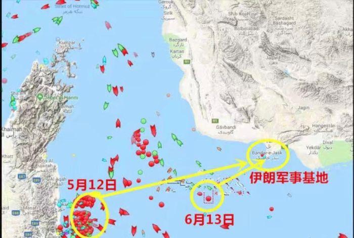兩次施襲在霍爾木茲海峽的位置,第二次更靠近伊朗的軍事基地。