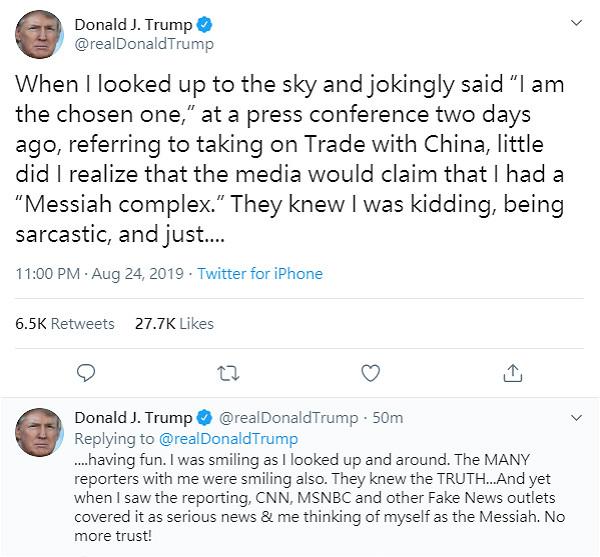 图:特朗普再在twitter上发帖。