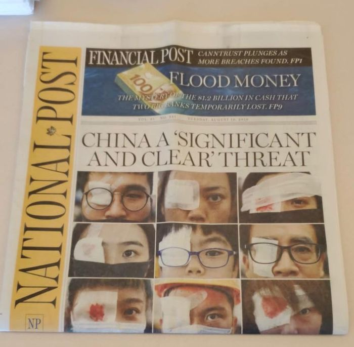 加拿大National Post的頭版報導。明顯是設計圖片,因為根本沒有小孩在示威中眼部受傷。