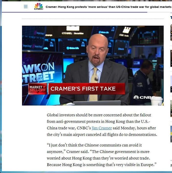 CNBC名咀Jim Cramer 擔心,香港示威會影響全球經濟。CNBC網站截圖