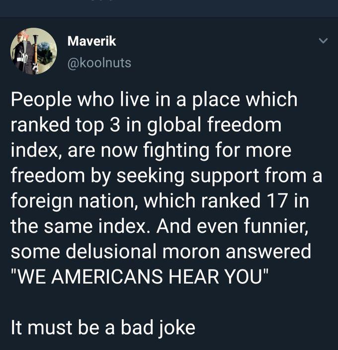 有人在社交媒體上發文諷剌叫美國支持爭取自由。