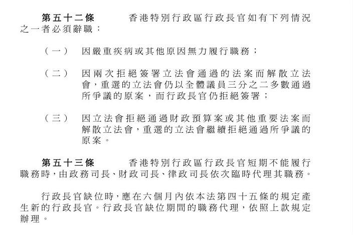 基本法內有關行政長官出缺的規定。