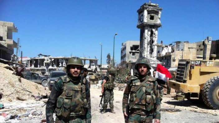 叙利亚政府军从新在北部升起叙国国旗。