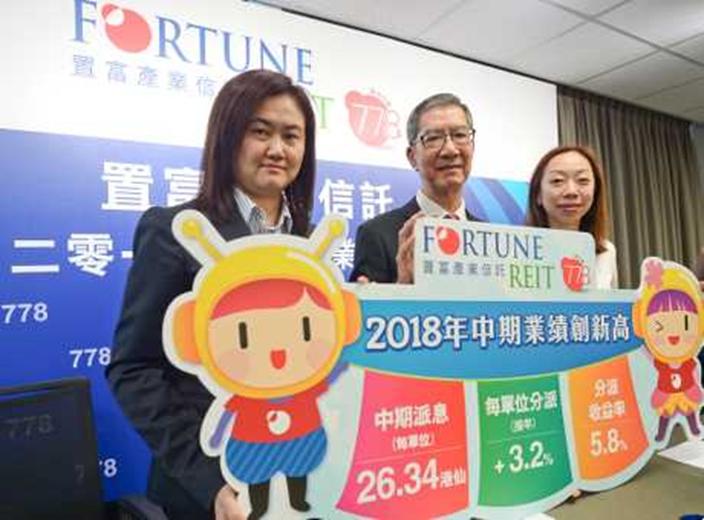 置富產業信託中期業績發佈會,左起:行政總裁趙宇,主席徐勝來,投資及投資者關係總監孔元真,資料圖片。