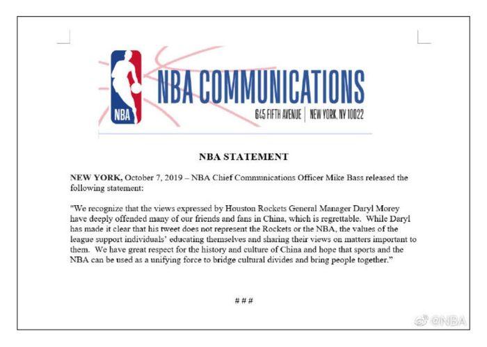 NBA首席傳播官巴斯發佈聲明斥責莫雷,但已無補於事。