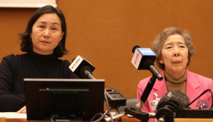 香港婦協主席何超瓊(左)及監察顧問伍淑清(右),出席聯合國人權理事會第42屆會議開幕式。中新社圖片