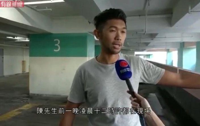 事發時也在現場的陳先生。有線新聞影片截圖。