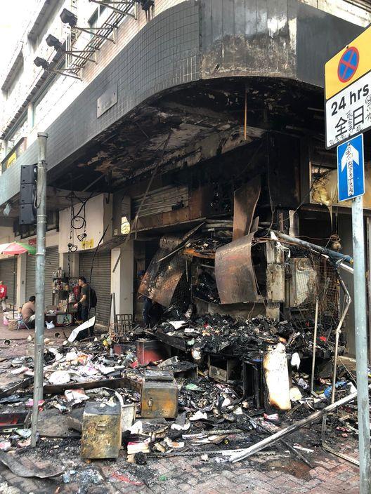 佐敦道的店舖燒毀。
