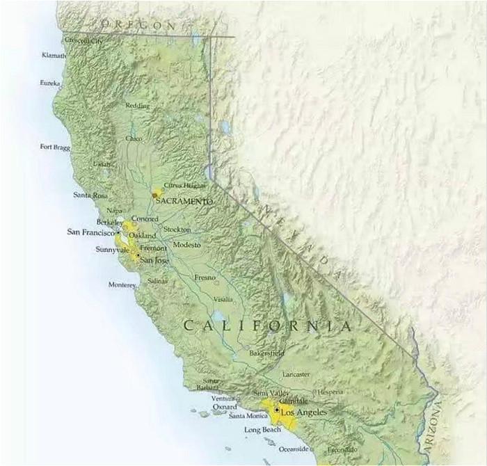 加州是美國西岸大州,世界知名的荷里活和矽谷都在加州內。