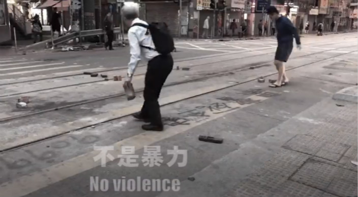 影片呼吁香港人不要放弃,向暴力说不