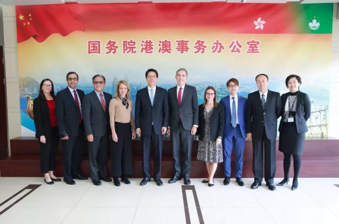 張曉明與香港美國商會高層訪京團合照留念