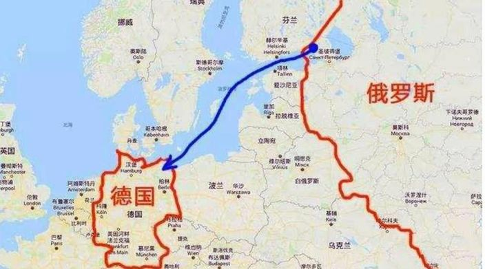 """""""北溪-2""""天然气管道连接俄罗斯和德国。"""