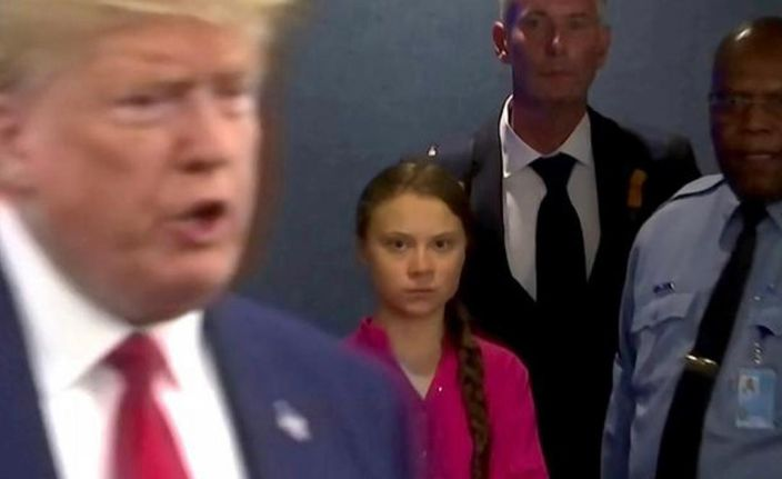 通貝里怒目睥視美國總統特朗普。