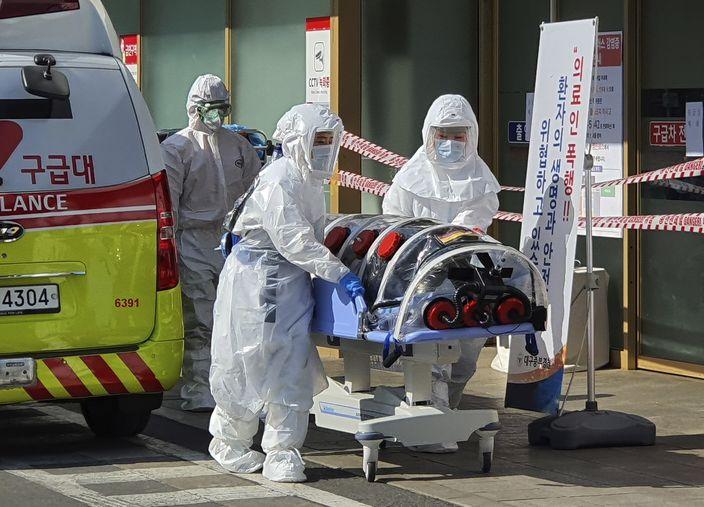 韩国出现大量新增个案。(AP图片)