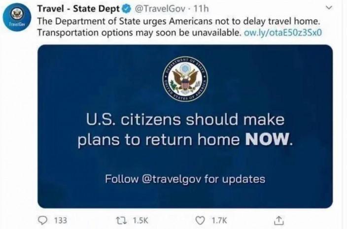 美國國務院領事事務局發出叫美國人回國的警示。