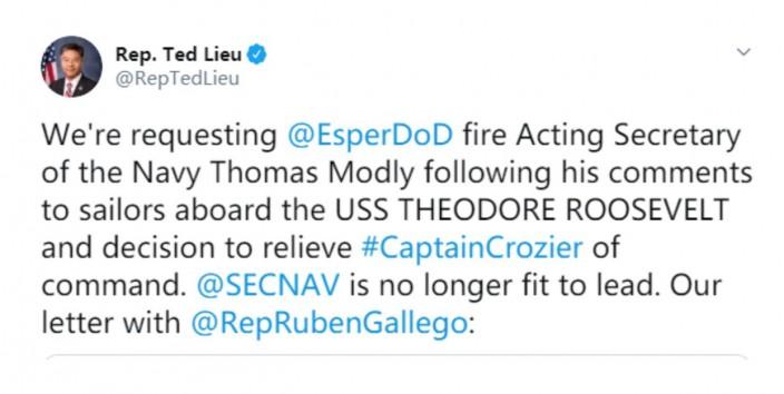 美國民主黨華裔國會議員劉平雲寫信要求美國國防部長開除莫德利。