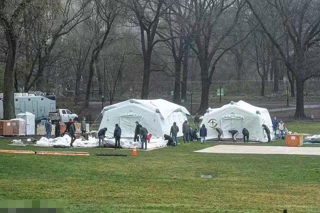 中央公園的臨時醫院。