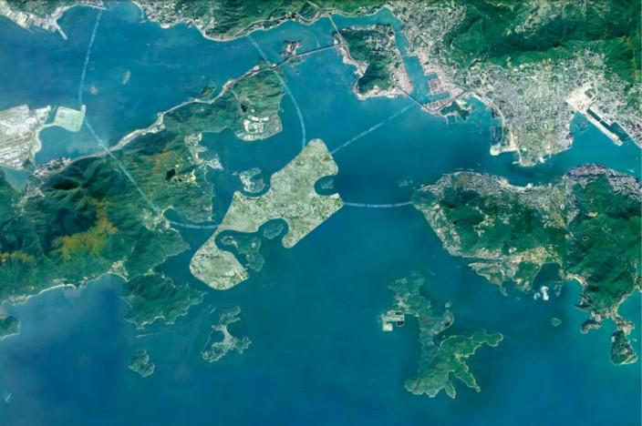 中部水域填海計劃(圖中間淺綠色部份)