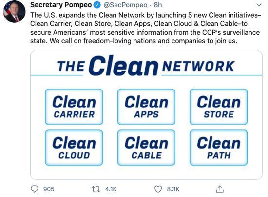 蓬佩奧發帖宣傳他的「清潔網絡」計劃。