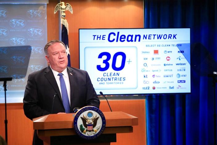 美國國務卿蓬佩奧宣布「潔淨網絡」(The Clean Network)計劃,進一步禁制中國科技。。(AP圖片)