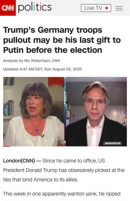CNN踼爆特朗普德國撤軍圖謀。