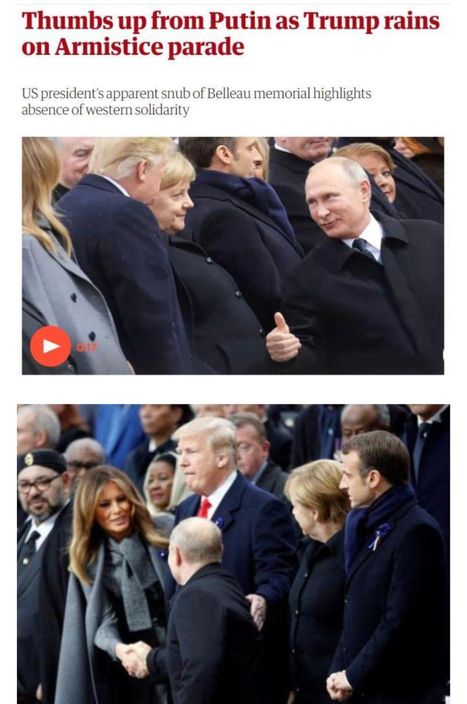 特朗普在公開場合,也對普京友好而恭敬。