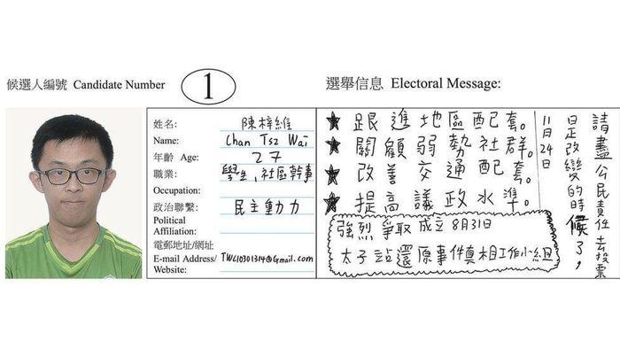 陳梓維去年11月當選後,才有人留意到他的選舉宣傳,那一種字跡十分惹人注目。