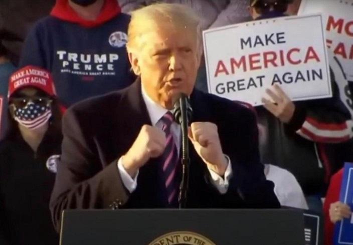 上週五,特朗普在明尼蘇達州的一次集會上又再出位。