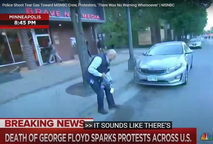 MSNBC記者阿里維爾西在在明尼阿波利斯採訪,之後被橡膠子彈擊中膝蓋。