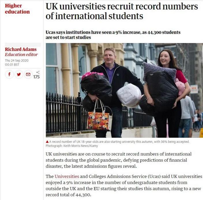 衛報報道英國大學收海外生大豐收。