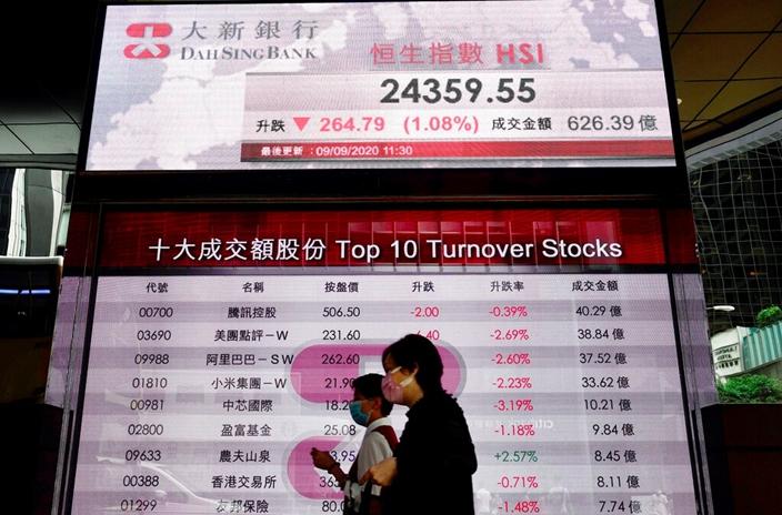 港股今天受美股影響下挫。(AP圖片)