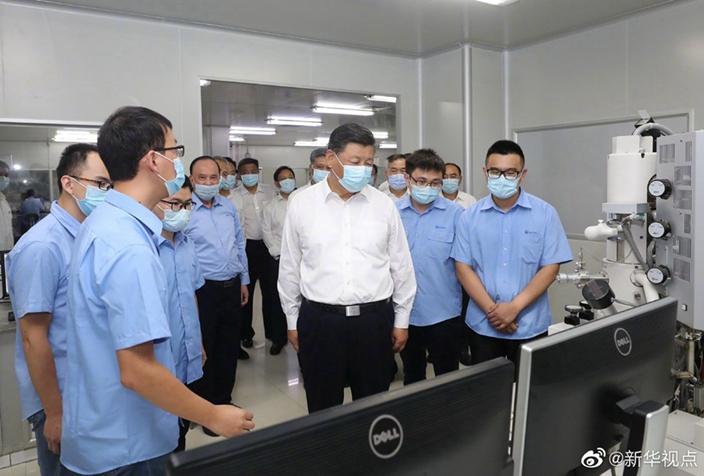 習近平在廣東考察,推動中國的科技自主發展。(網上圖片)
