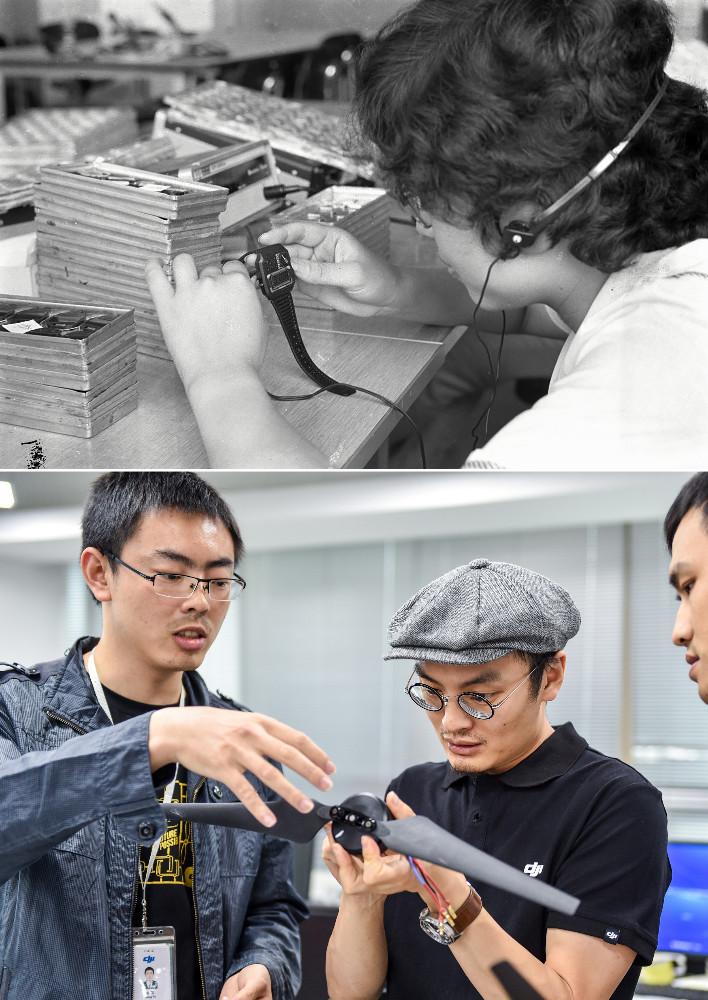 上圖:工人在深圳一家計時器廠生產一款電子手錶;下圖:2015年5月22日,在深圳科技園的大疆創新總部,創始人汪滔(中)和研發人員交流。新華社圖片
